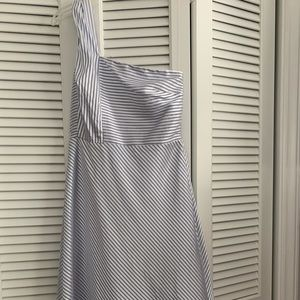 Satin, baby blue and white, formal type dress.
